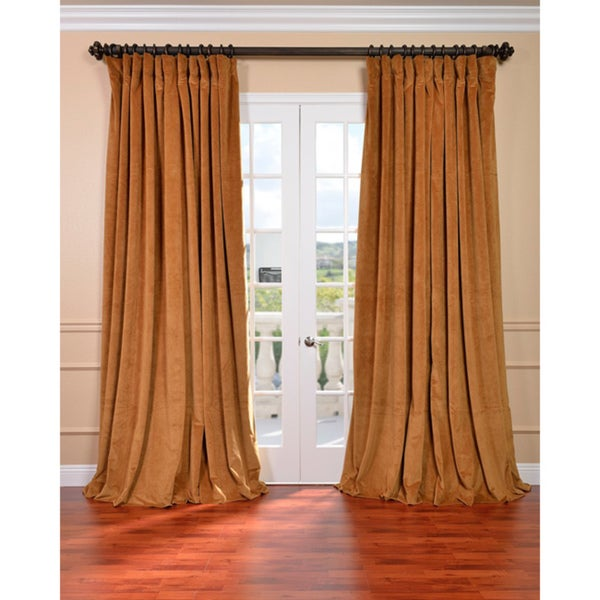 Exclusive Fabrics Amber Gold Velvet Blackout Extra Wide Curtain Panel