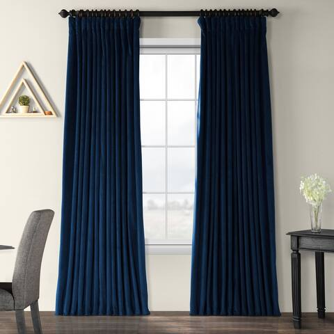 Exclusive Fabrics Midnight Blue Velvet Blackout Extra Wide Curtain Panel