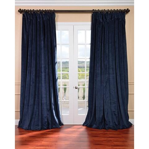 Exclusive Fabrics Midnight Blue Velvet Extra-wide Blackout Curtain Panel