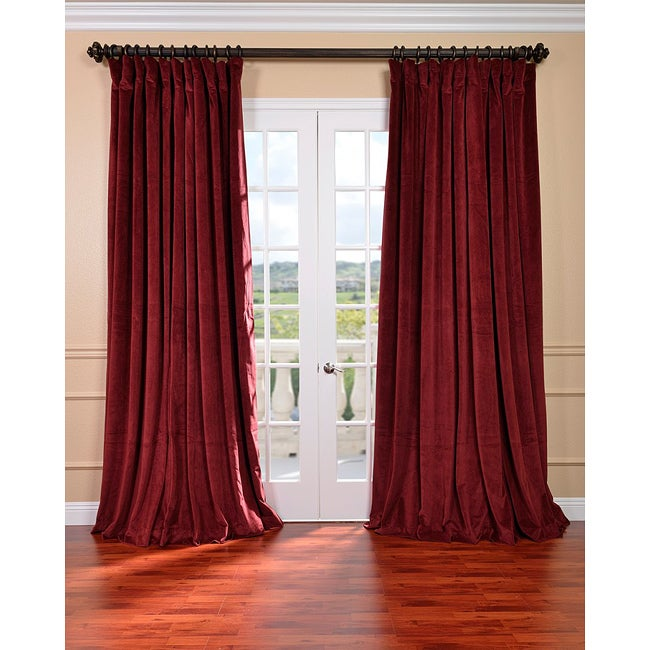 Exclusive Fabrics Burgundy Velvet Blackout Extra Wide Curtain Panel (3  Options Available)