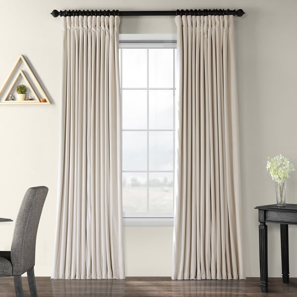 Exclusive Fabrics Ivory Velvet Blackout Extra Wide Curtain Panel. Opens flyout.