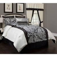 Dalya Black/ Cream Paisley 4-Piece Comforter Set