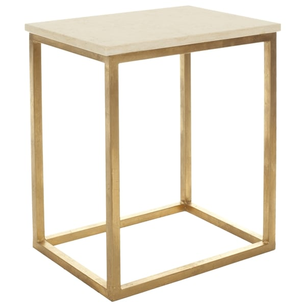 Safavieh Hidden Treasures Ivory Granite Brass Accent Table
