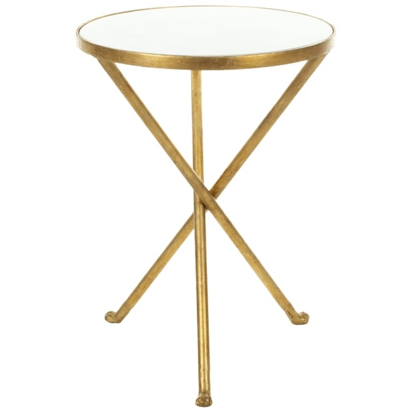 Safavieh Hidden Treasures White Granite Brass Accent Table   Free Shipping  Today   Overstock.com   14344720