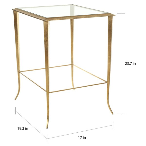"SAFAVIEH Hidden Treasures Glass Top Brass Accent Table - 17"" x 19.3"" x 23.7"""