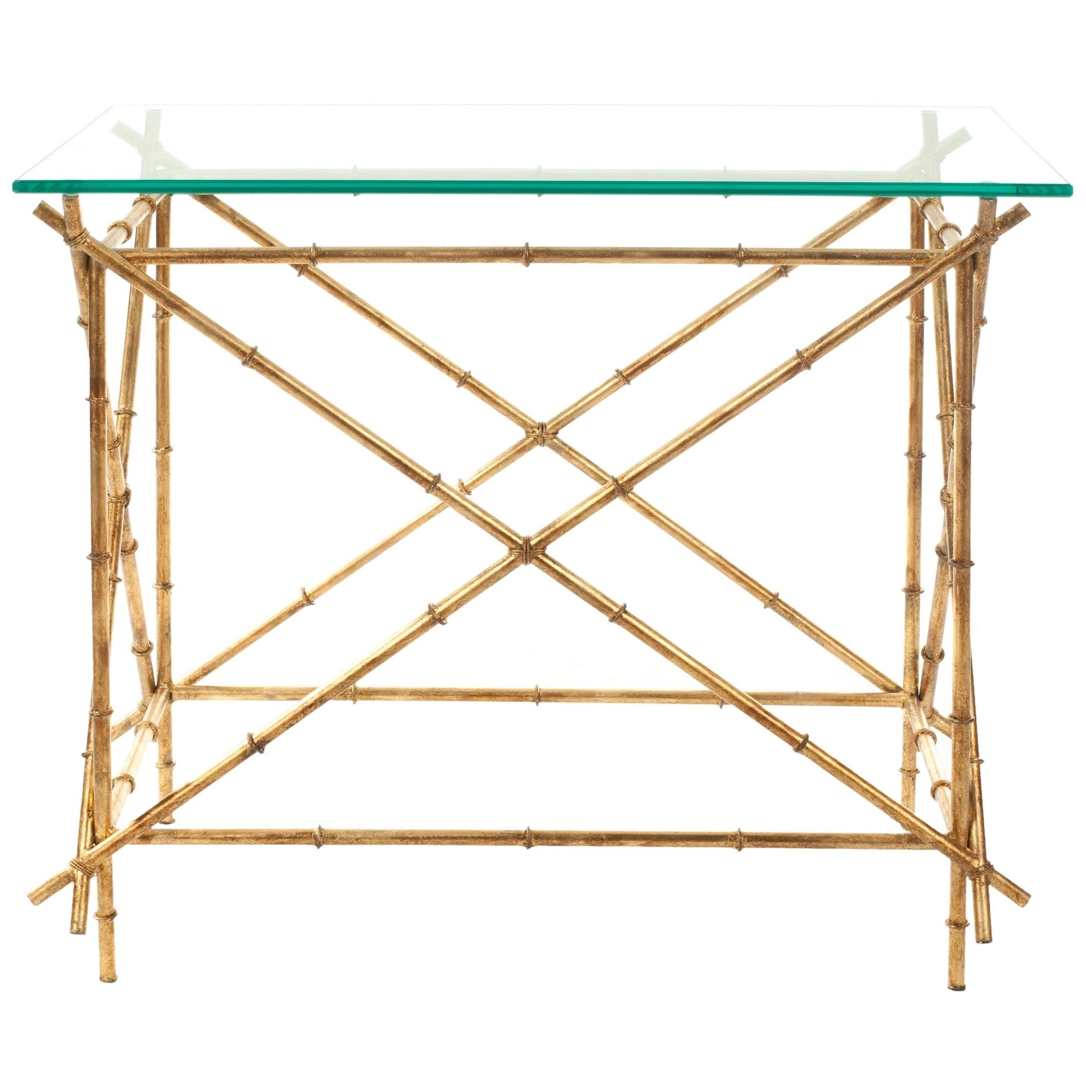 - Shop Safavieh Hidden Treasures Glass Top Brass Accent Table - 27