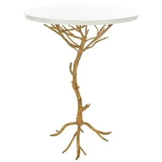 Safavieh Hidden Treasures White Granite Brass Accent Table