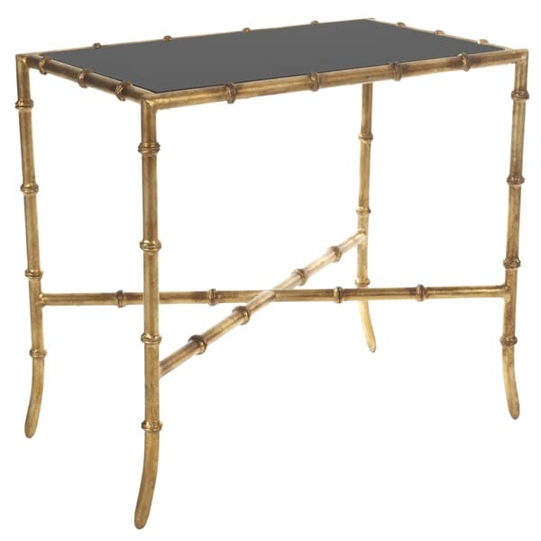 Safavieh Hidden Treasures Black Mirrored Glass Gold Accent Table