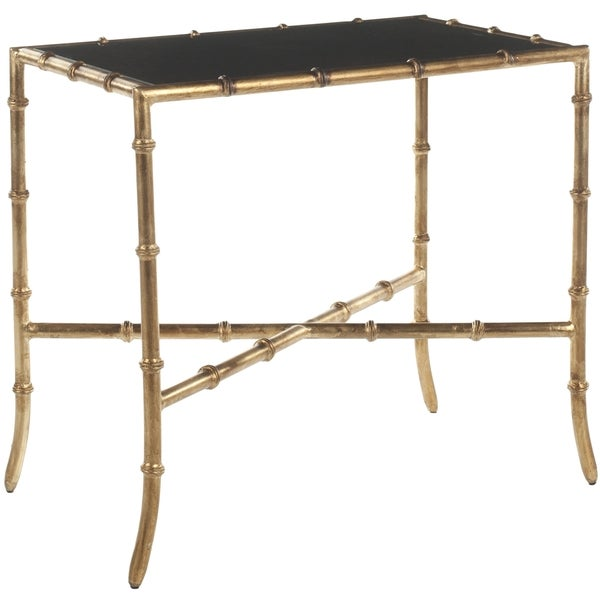 Safavieh Hidden Treasures Black Granite Gold Accent Table
