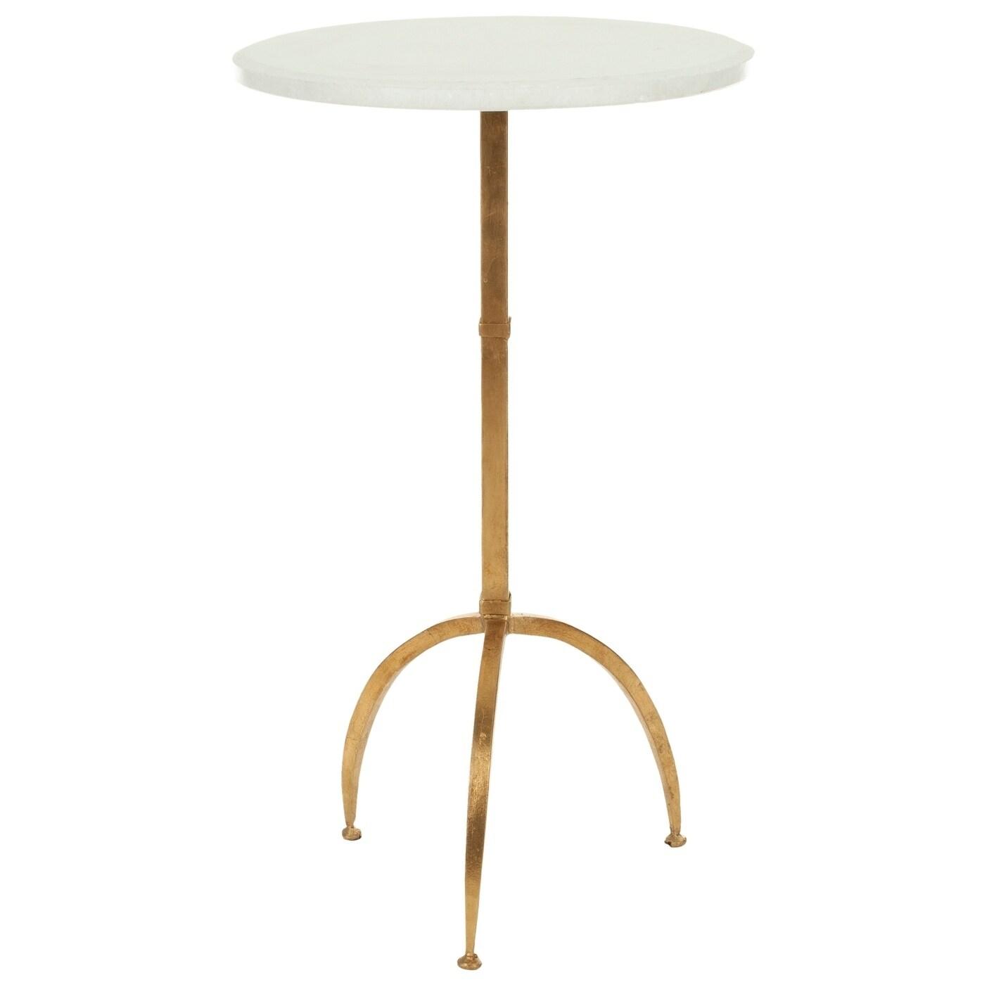 - Shop Safavieh Hidden Treasures White Granite Brass Accent Table