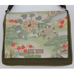Two Tree Designs Handmade Medium Green Japanese Woodblock Messenger Bag - Thumbnail 1