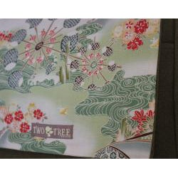 Two Tree Designs Handmade Medium Green Japanese Woodblock Messenger Bag - Thumbnail 2