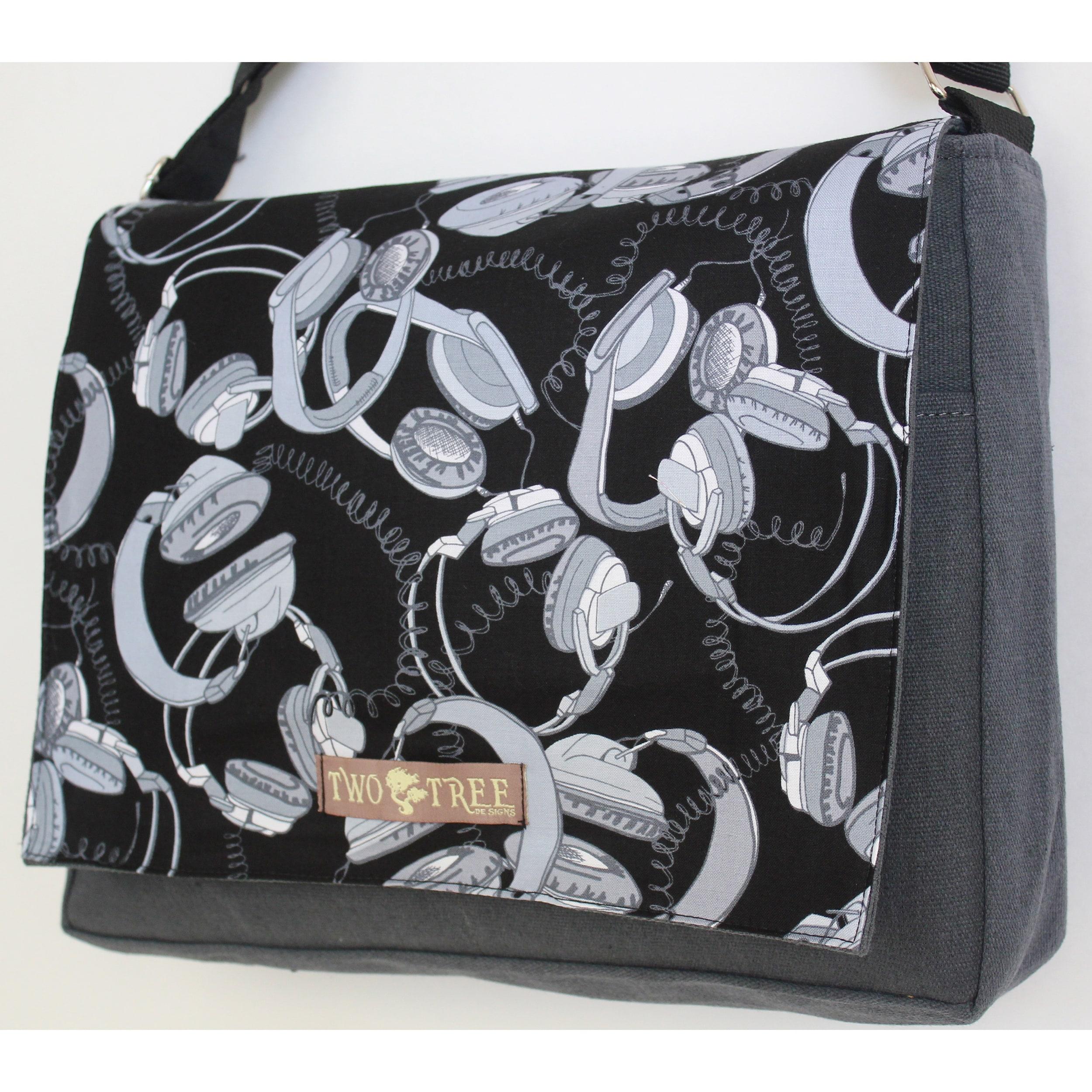 Two Tree Designs Retro Headphones Handmade Messenger Bag