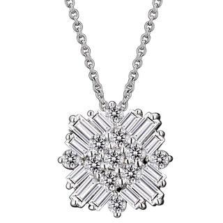 Collette Z Sterling Silver Baguette Cubic Zirconia Square Necklace