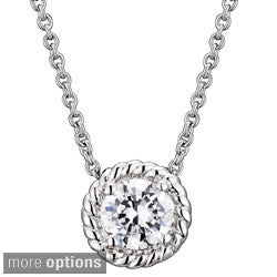 Collette Z Round Cubic Zirconia Cable Edge Necklace