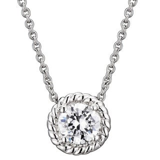 Collette Z Round Cubic Zirconia Cable Edge Necklace (2 options available)