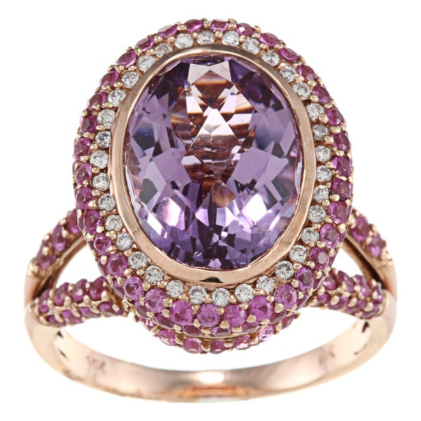 14k Gold Pink Amethyst, Pink Sapphire and 1/5ct TDW Diamond Ring (H-I, SI1)