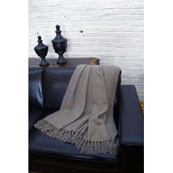 Liz Taupe Acrylic Mohair Throw - Thumbnail 1