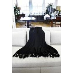 Liz Black Acrylic Mohair Throw