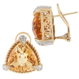 14k Yellow Gold Citrine and 1/10ct TDW Diamond Earrings (I-J, I1-I2)