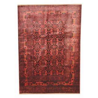 Herat Oriental Afghan Hand-knotted Tribal Khal Mohammadi Rose/ Black Wool Rug (6'8 x 9'5)