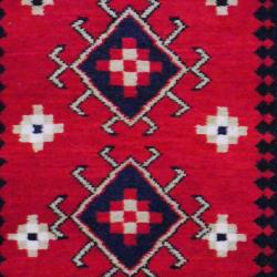 Indo Hand-Knotted Kazak Red/Ivory Geometric Wool Rug (3' x 5') - Thumbnail 1