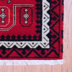 Indo Hand-Knotted Kazak Red/Ivory Geometric Wool Rug (3' x 5') - Thumbnail 2