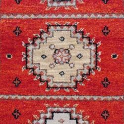 Indo Hand-knotted Kazak Rust/ Ivory Wool Rug (3' x 5') - Thumbnail 1