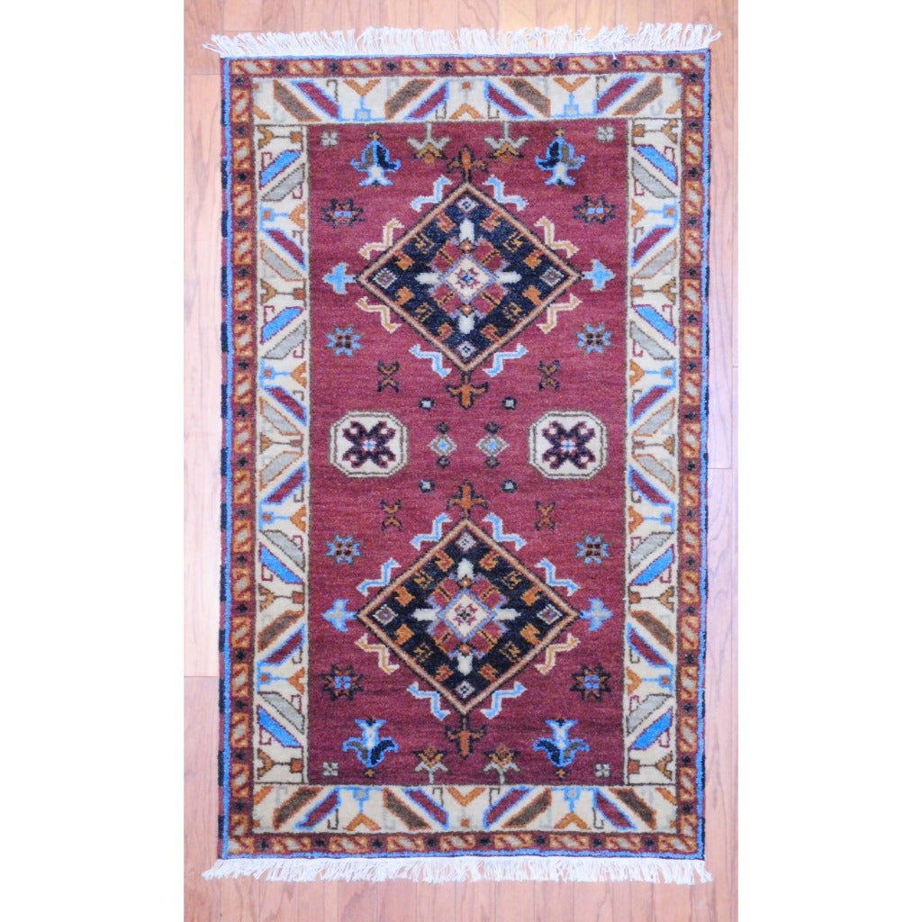 Indo Hand-knotted Kazak Brown/ Ivory Wool Rug (3' x 5')