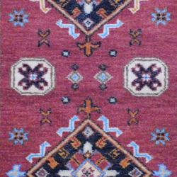 Indo Hand-knotted Kazak Brown/ Ivory Wool Rug (3' x 5') - Thumbnail 1
