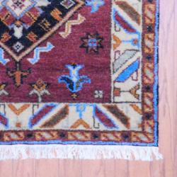 Indo Hand-knotted Kazak Brown/ Ivory Wool Rug (3' x 5') - Thumbnail 2