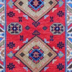 Indo Hand-Knotted Kazak Red/Ivory Geometric-Patterned Indoor Wool Rug (3' x 5') - Thumbnail 1