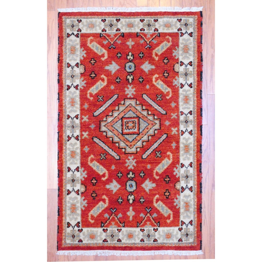 Indo Traditional Hand-Knotted Kazak Rust/Ivory Wool Rug (3' x 5') - Thumbnail 0