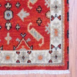 Indo Traditional Hand-Knotted Kazak Rust/Ivory Wool Rug (3' x 5') - Thumbnail 2