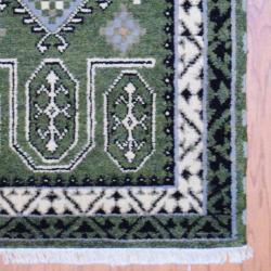 Indo Hand-knotted Kazak Olive/ Ivory Wool Rug (3' x 5') - Thumbnail 2