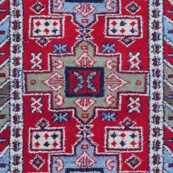 Indo Hand-Knotted Kazak Red/Ivory Rectangle Wool Rug (3' x 5')