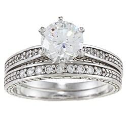 Alyssa Jewels 14k White Gold 1 1/2ct TGW Clear Cubic Zirconia Bridal-style Ring Set