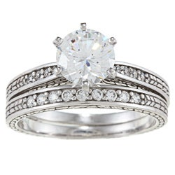 Alyssa Jewels 14k White Gold 1 1/2ct TGW Clear Cubic Zirconia Bridal-style Ring Set