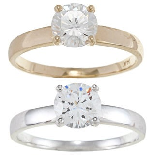 Alyssa Jewels 14k Gold 1ct TGW Cubic Zirconia Engagement-style Ring