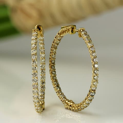 Auriya 14k Gold 2 1/2ctw Small or Medium Inside-out Diamond Hoop Earrings