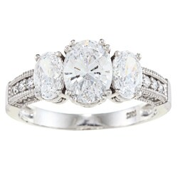 Alyssa Jewels 14k White Gold 2 1/2ct TGW Oval Clear Cubic Zirconia Engagement-style Ring