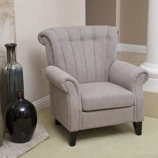 Waldorf Channel Tufted Light Mocha Fabric Club Chair by Christopher Knight Home