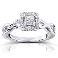 Annello by Kobelli 14k Gold 1/3ct TDW Diamond Halo Engagement Ring