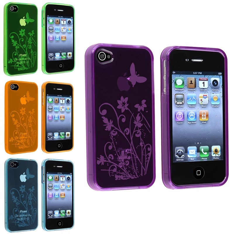Blue/ Purple/ Orange/ Green TPU Cases for Apple iPhone 4/ 4S (Set of 4)