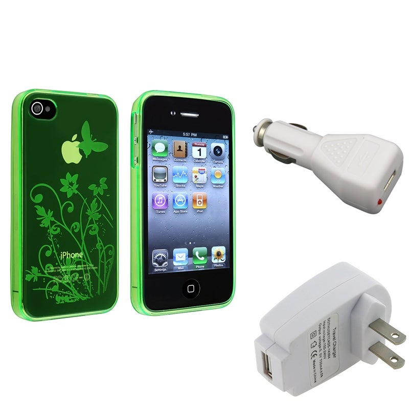 Green TPU Case/ Travel Charger/ Car Charger for Apple iPhone 4/ 4S