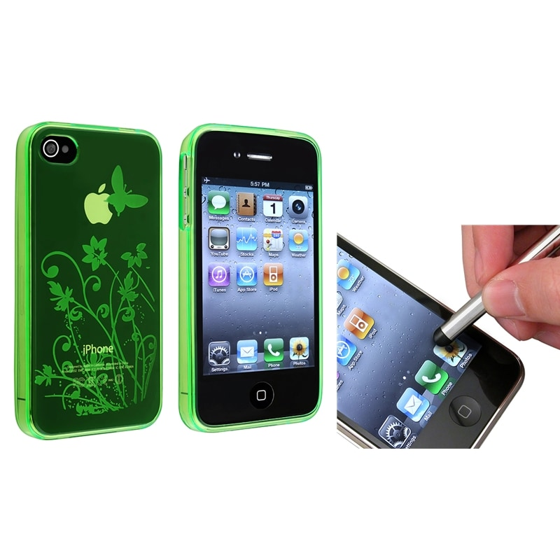 Two-Piece Clear-Green Flower Butterfly TPU Case/Stylus for Apple iPhone 4/4S
