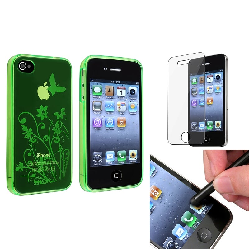 Green Flower TPU Case/ LCD Protector/ Stylus for Apple iPhone 4/ 4S