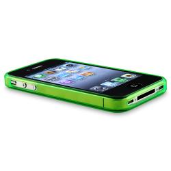 Green Flower Butterfly TPU Case/ Black Car Charger for Apple iPhone 4/ 4S
