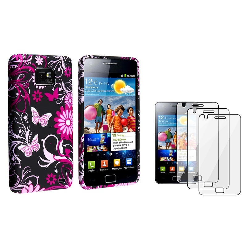 Black Flower/ Butterfly Case/ Protector for Samsung Galaxy S II i9100