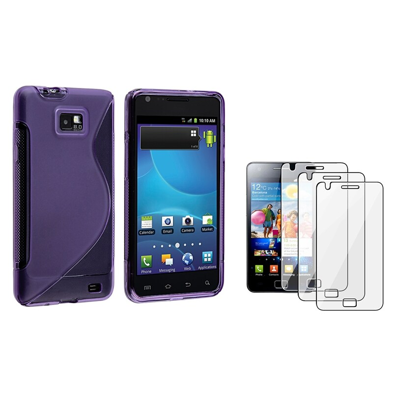 Dark Purple S Shape TPU Case/ Protector for Samsung Galaxy S II i9100
